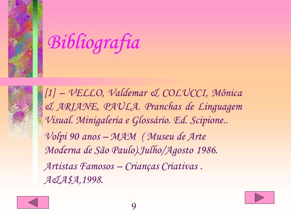 Bibliografia [1] – VELLO, Valdemar & COLUCCI, Mônica & ARIANE, PAULA. Pranchas de Linguagem Visual. Minigaleria e Glossário. Ed. Scipione..